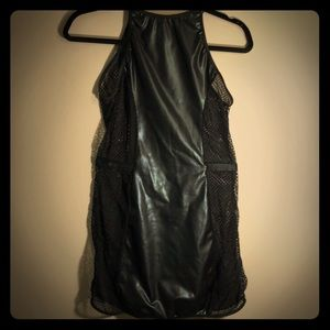 FREDERICKS OF HOLLYWOOD BLACK FAUX LEATHER CHEMISE